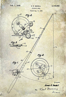 Largemouth Bass Photograph - Fishing Reel Patent 1939 by Jon Neidert