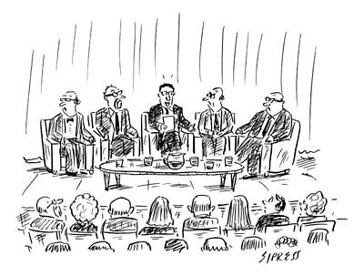 Panel Drawing - Five Men Sit On A Stage In Front Of An Audience by David Sipress