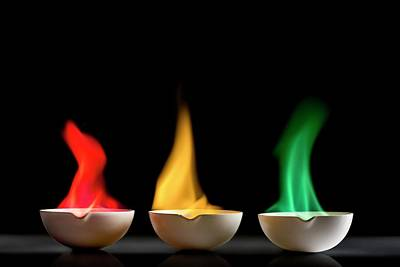 Strontium Photograph - Flame Tests by Science Photo Library