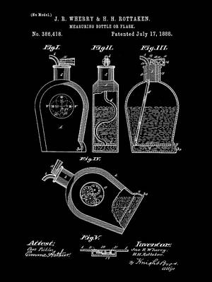 Flask Patent 1888 - Black Print by Stephen Younts