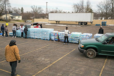 Pallet Photograph - Flint Bottled Drinking Water Distribution by Jim West