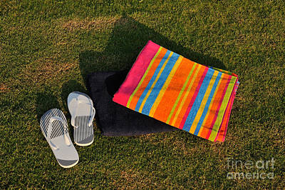 Sandals Photograph - Flip Flops And Towels On Grass by George Atsametakis