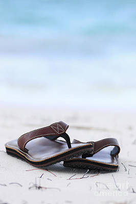 Sandals Photograph - Flip-flops On Beach by Elena Elisseeva