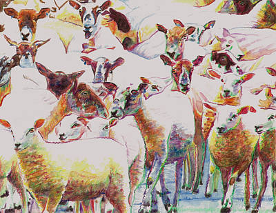Lambing Painting - Flock by Helen White