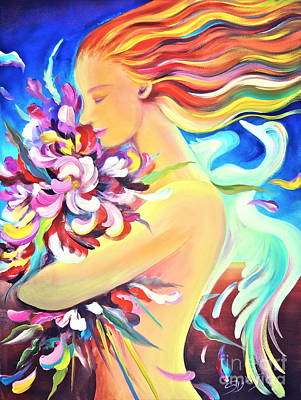Swan Goddess Painting - Floral Innocence by Gem S Visionary