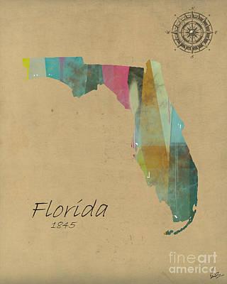 Florida State Map Print by Bri B