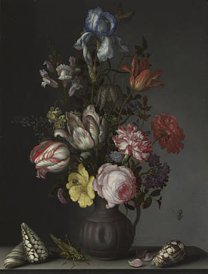 Flowers In A Vase With Shells And Insects Print by Balthasar van der Ast