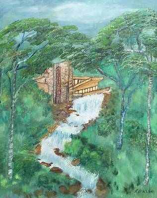 Frank Lloyd Wright Painting - Flw's Fallingwater by Kathy Wolfstone-Smith