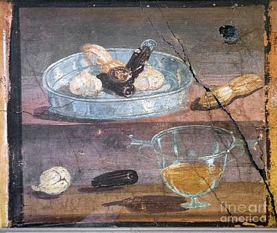 Food And Glass Dishes, Roman Fresco Print by Sheila Terry