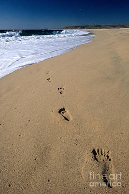 Footprints On The Beach Print by William H. Mullins