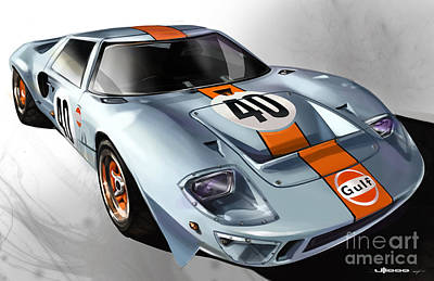 Race Painting - Ford Gt40 by Uli Gonzalez