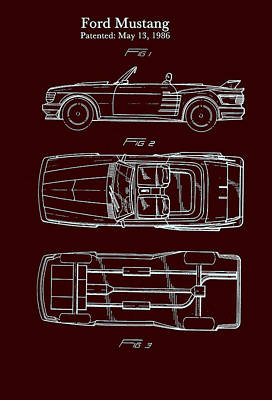 Antique Automobiles Drawing - Ford Mustang Automobile Body Patent 1986 by Mountain Dreams