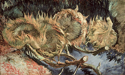 Sunflower Painting - Four Withered Sunflowers by Vincent van Gogh