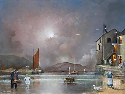 Old Man Fishing Painting - Fowey - Cornwall by Ken Wood