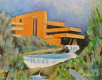 Frank Lloyd Wright Painting - Frank Lloyd Wright Falling Water Architecture by Robert Birkenes