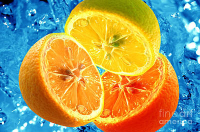 Drop Photograph - Fresh Citrus Background by Michal Bednarek
