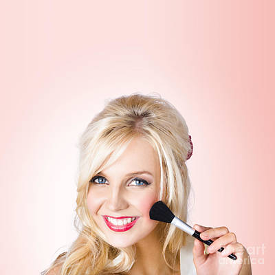 Fresh Faced Makeup Girl With Cosmetic Brush Print by Jorgo Photography - Wall Art Gallery
