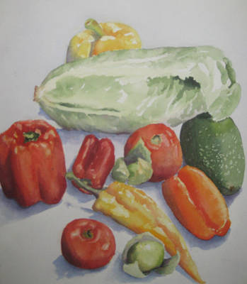 Pepper Painting - Fresh From The Garden by Maria Hunt