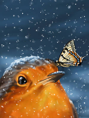Cute Bird Digital Art - Friends by Veronica Minozzi