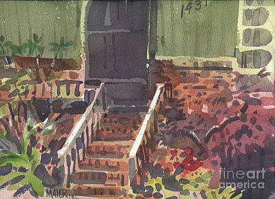 Entrance Door Painting - Front Steps by Donald Maier