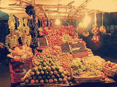 Commercial Photograph - Fruit Shop In Night by Girish J