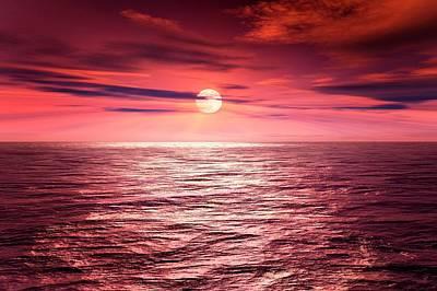 Full Moon Over An Ocean Print by Detlev Van Ravenswaay