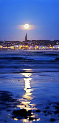 Full Moon Over Coastal Town Print by Laurent Laveder