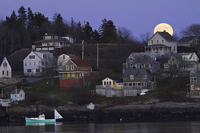 Full Moon Over Georgetown Island Maine Print by Keith Webber Jr