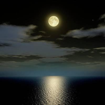 Full Moon Over The Sea Print by Detlev Van Ravenswaay