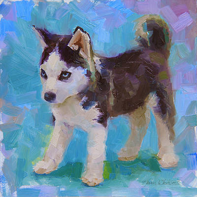 Arctic Dog Painting - Full Of It - Alaskan Husky Sled Dog Puppy by Karen Whitworth