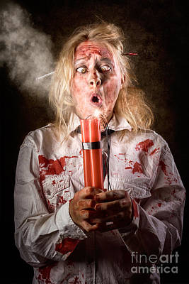 Monster Photograph - Funny Monster Woman With Bomb. Halloween Countdown by Jorgo Photography - Wall Art Gallery