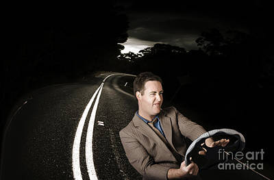 Funny Road Rage Man In Car Accident Print by Jorgo Photography - Wall Art Gallery