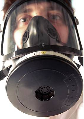 Gas Masks Photograph - Gas Mask by Crown Copyright/health & Safety Laboratory Science Photo Library