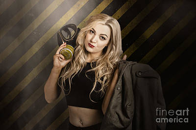 Terrorism Photograph - Gas Mask Pinup Girl In Nuclear Danger Zone by Jorgo Photography - Wall Art Gallery