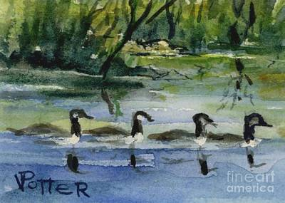 Geese In A Row Aceo Original by Virginia Potter