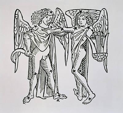 Signs Of The Zodiac Drawing - Gemini An Illustration by Italian School