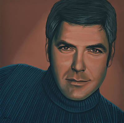 George Clooney Painting Print by Paul Meijering