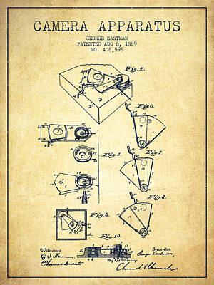 Kodak Drawing - George Eastman Camera Apparatus Patent From 1889 - Vintage by Aged Pixel