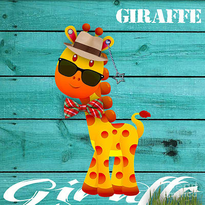 Jungle Mixed Media - Georgie Giraffe Collection by Marvin Blaine
