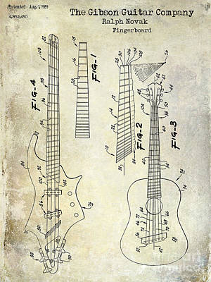 Guitar Drawing - Gibson Guitar Patent Drawing by Jon Neidert