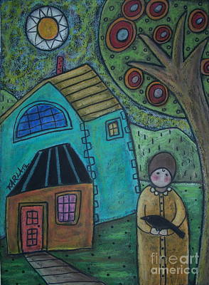 Oil Pastel Painting - Girl And Bird by Karla Gerard