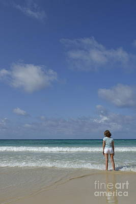 Girl Contemplating Ocean From Beach Print by Sami Sarkis