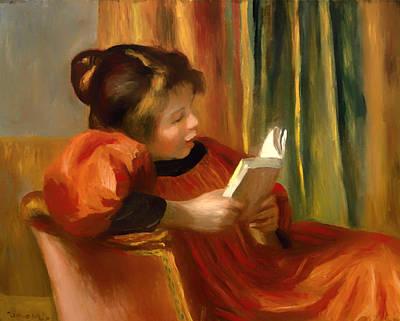 Pierre-auguste Renoir Painting - Girl Reading by Pierre-Auguste Renoir