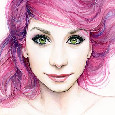 Pink Hair Painting - Girl With Magenta Hair by Olga Shvartsur
