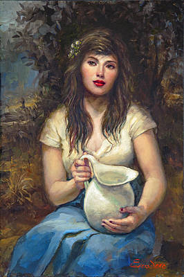 Girl With Pitcher Print by Ron Escudero
