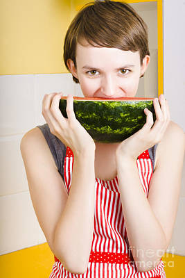 Youthful Photograph - Girl With Short Hair Eating Ripe Juicy Watermelon by Jorgo Photography - Wall Art Gallery