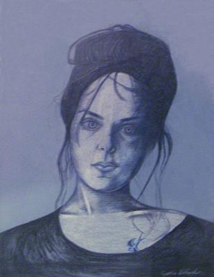 Girl With Tattoo Print by Cynthia Hilliard