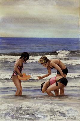 Galveston Painting - Girls At The Beach by Sam Sidders