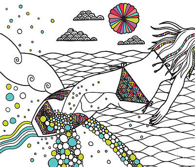 Outline Digital Art - Girls Carve Too by Susan Claire