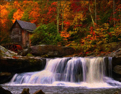 Mills Mixed Media - Glade Creek Grist Mill by Chris Flees